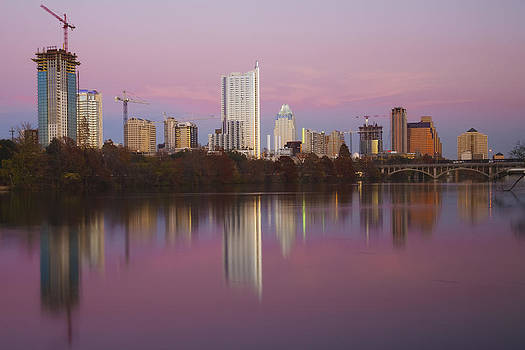 Austin Skyline Sunset Reflections by Mark Weaver