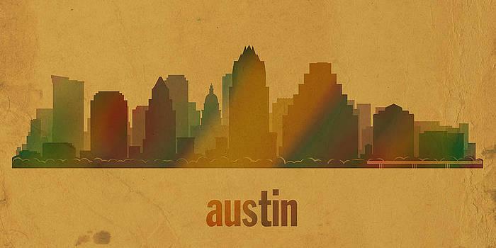 Design Turnpike - Austin Texas City Skyline Watercolor On Parchment