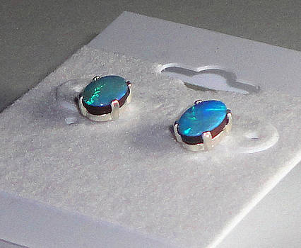 SOLD Australian Boulder Opal Studs by Robin Copper