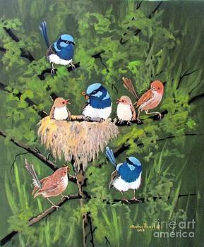 Australian Fairy Wrens with two chicks by Audrey Russill