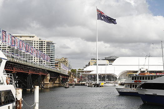 David Rich - Australian Flag on Darling Harbour