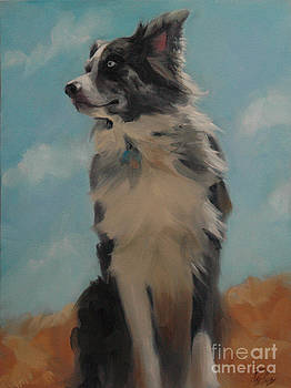 Australian Shepherd in Desert by Pet Whimsy  Portraits