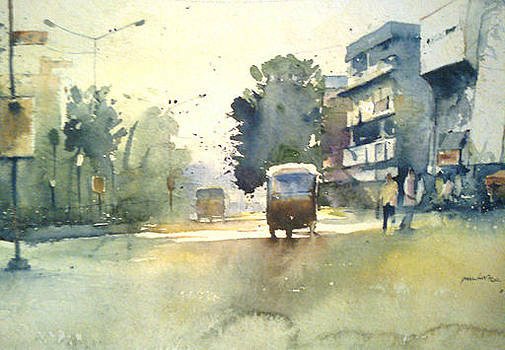 Auto In Street by Mohan Watercolours