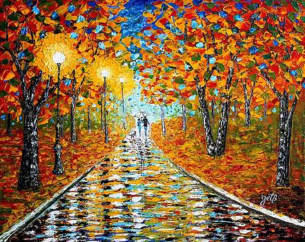Autumn Beauty original palette knife painting by Georgeta  Blanaru