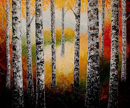 Autumn Birches Forest Scent palette knife painting by Georgeta Blanaru