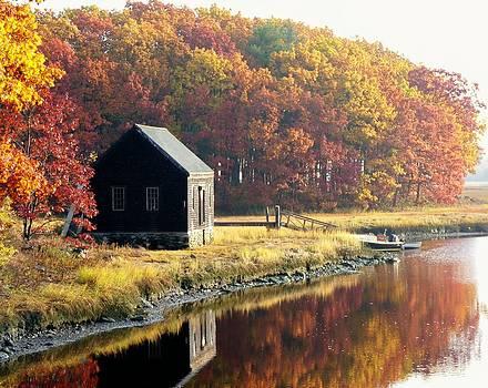 Autumn Boathouse by Elaine Franklin