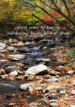 Jill Lang - Autumn Creek with Romans Scripture