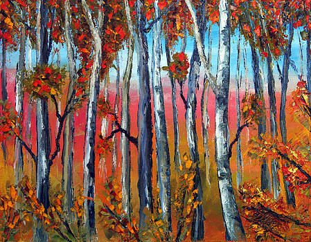 Autumn Fire  Palette Knife Oil Painting  No Brush by Lisa Elley