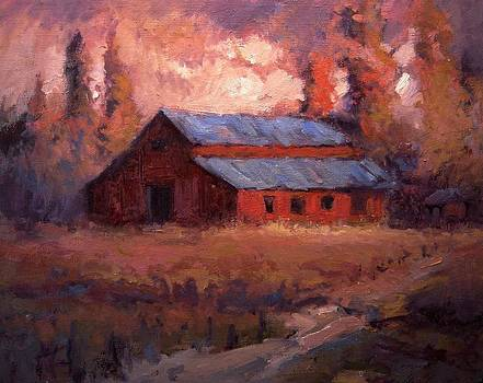 Autumn light on the old barn by R W Goetting
