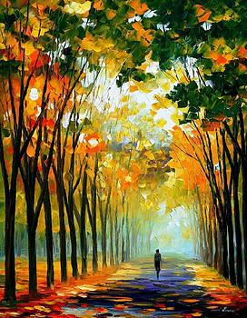 Autumn Mood - PALETTE KNIFE Oil Painting On Canvas By Leonid Afremov by Leonid Afremov