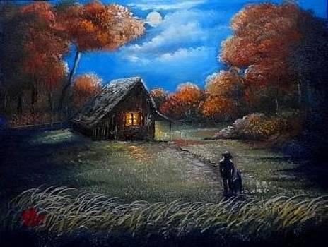Autumn Moonlight by Fineartist Ellen