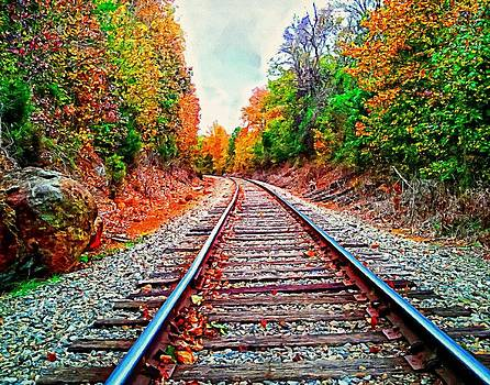Autumn Railroad Art Landscape by Andres Ramos