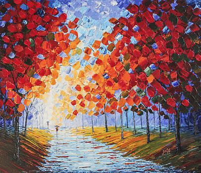 Autumn Rainy Evening original palette knife painting by Georgeta Blanaru