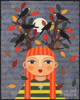 Autumn Red Head Girl with Fallen Leaves and Crows by LuLu Mypinkturtle