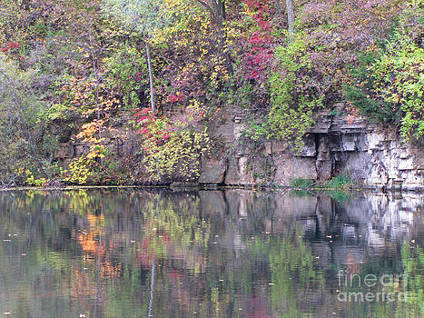 Minding My  Visions by Adri and Ray - Autumn Reflection on Pond by The Rock Cliff
