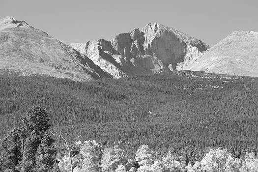 James BO  Insogna - Autumn Season View of  Rocky Mountains Longs Peak BW