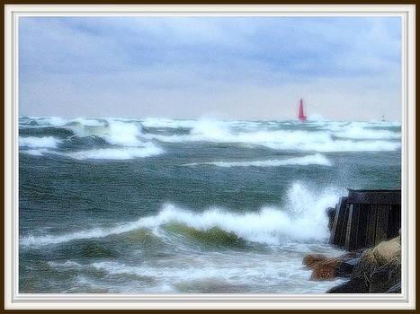 Rosemarie E Seppala - Autumn Storm At Muskegon Pier Waves Tumbling And Crashing In