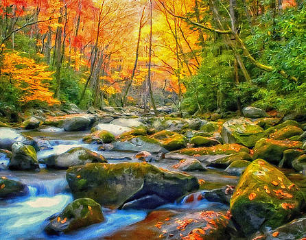Autumn Stream Landscape Art Painting by Andres Ramos