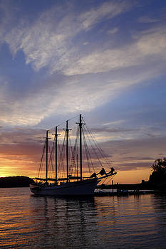 Autumn sunrise on a schooner at Bar Harbor by Dick Wood