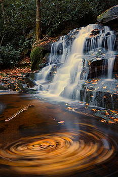 Autumn swirls at Elakala Falls in West Virginia by Jetson Nguyen