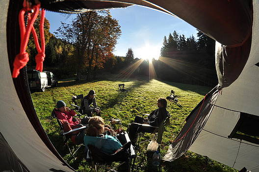 Autumn view from tent by Tomas Mahring