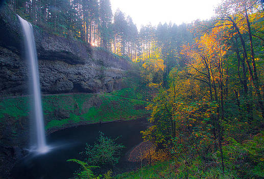 Autumn's Waterfall by Anthony J Wright