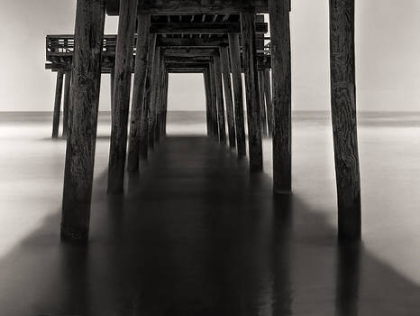 Avalon Fishing Pier Black and White by Alina Marin-Bliach
