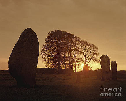 Avebury Stone Circle at Dawn Sunrise by Homer Sykes