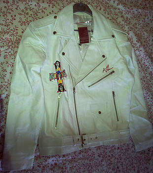 Axl rose leather jacket replica hand painted by Danielle Vergne