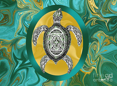 Aztec Emblem Sea Turtle by Sherin  Hylan