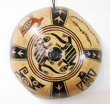 Aztec Gourd Wall Hanging - Hand Painted  by Vagabond Folk Art - Virginia Vivier