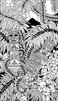 Aztec Warriors Totems Doodle Art by BluedarkArt Lem