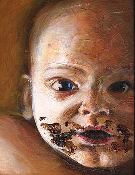 Baby eating by Charles  Bickel