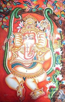 Baby Ganesha swinging on a snake by Jayashree