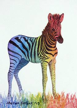 Baby Rainbow Zebra by Sharon Farber