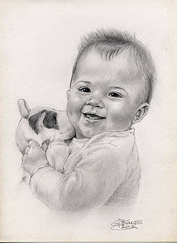 Baby with toy by Gill Kaye