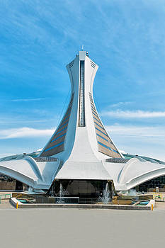 Back View Of Olympic Stadium In Montreal by Boris Mordukhayev