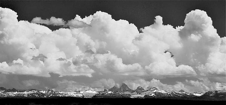 Backside Tetons and Clouds B W by Larry Bodinson