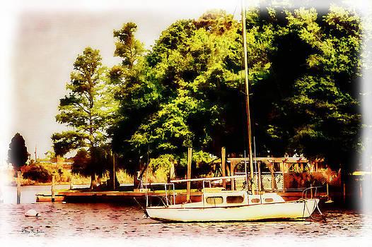 Sailboat - Dock - Backyard Mooring by Barry Jones