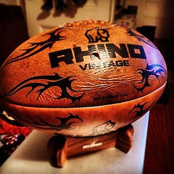 Badass Old School Leather #rugby Ball by Diego De Leon
