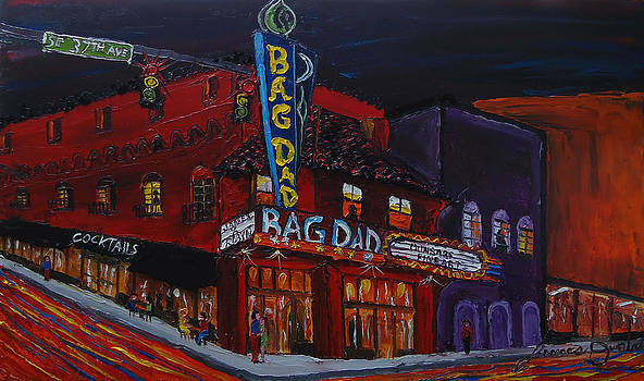 Bag Dad Theater At Night 1 by Portland Art Creations