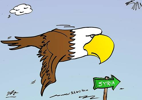 Bald Eagle flies in the direction of Syria by OptionsClick BlogArt