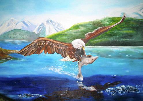 Bald Eagle Having Dinner by Thomas J Herring