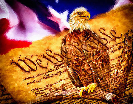 Bald Eagle with American Flag and Constitution Art Landscape by Andres Ramos