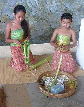 Bali girls weaving  by Jack Adams