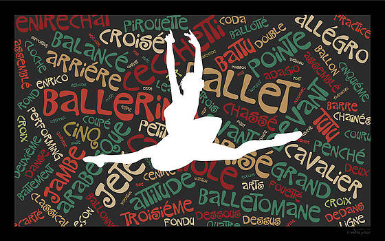 Ballerina Word Art - Grand Jete by Alfred Price