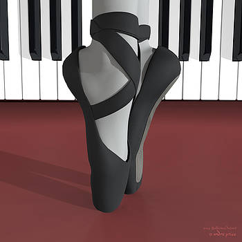 Ballet Toe Shoes over Royal Red and Piano Keys by Alfred Price