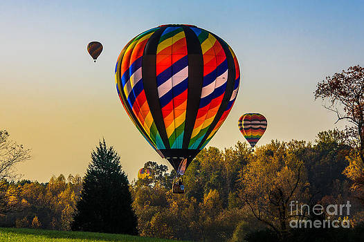 Balloon Liftoff in the Fall by Mark East