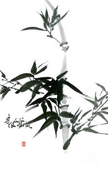 Bamboo Ink Painting In Sumi Brush Strokes by Nadja Van Ghelue