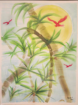 Bamboo with red birds by Nora Martinez